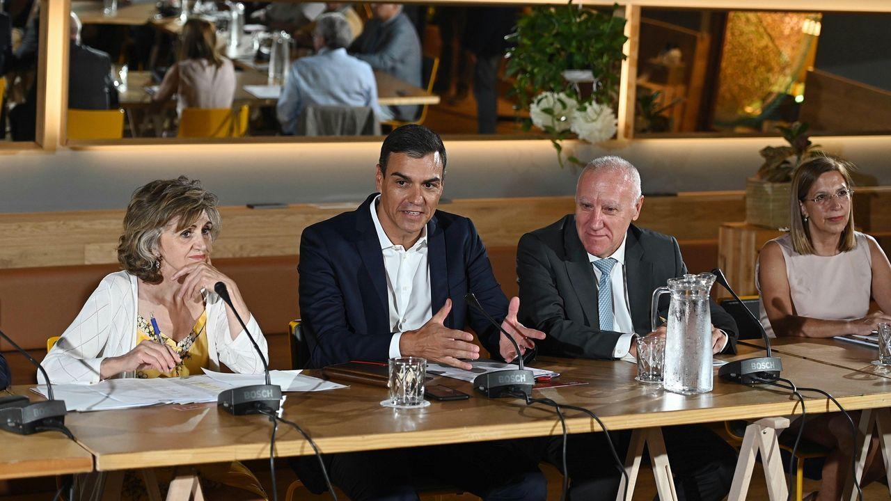 La ministra de Sanidad, María Luisa Carcedo, y el presidente del Gobierno, Pedro Sánchez, durante la reunión que han mantenido este miércoles con colectivos vinculados al área sanitaria
