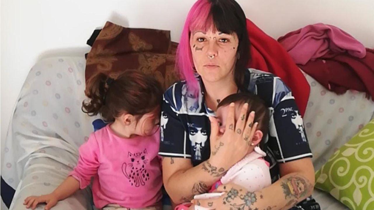 Raquel Pereira y sus hijos