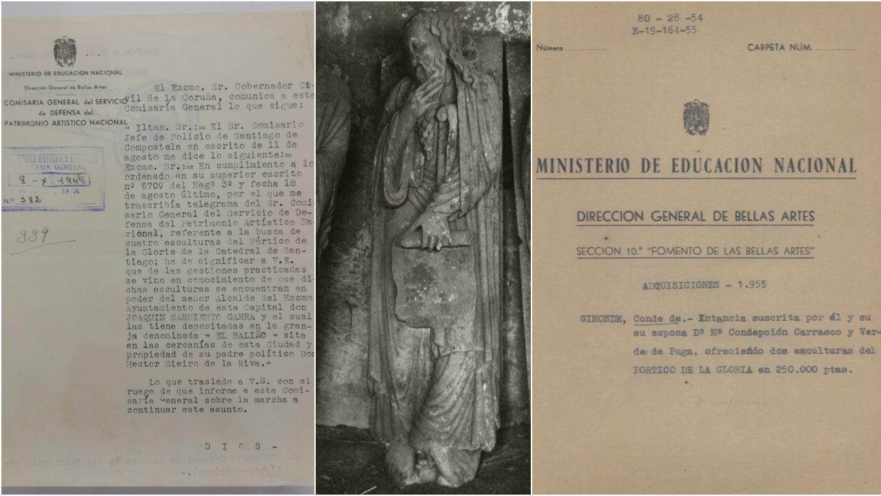 De esquerda a dereita, informe policial sobre as pezas, escultura de Elías e expediente de adquisición por parte do Estado das esculturas de Enoc e Elías para o Museo de Pontevedra