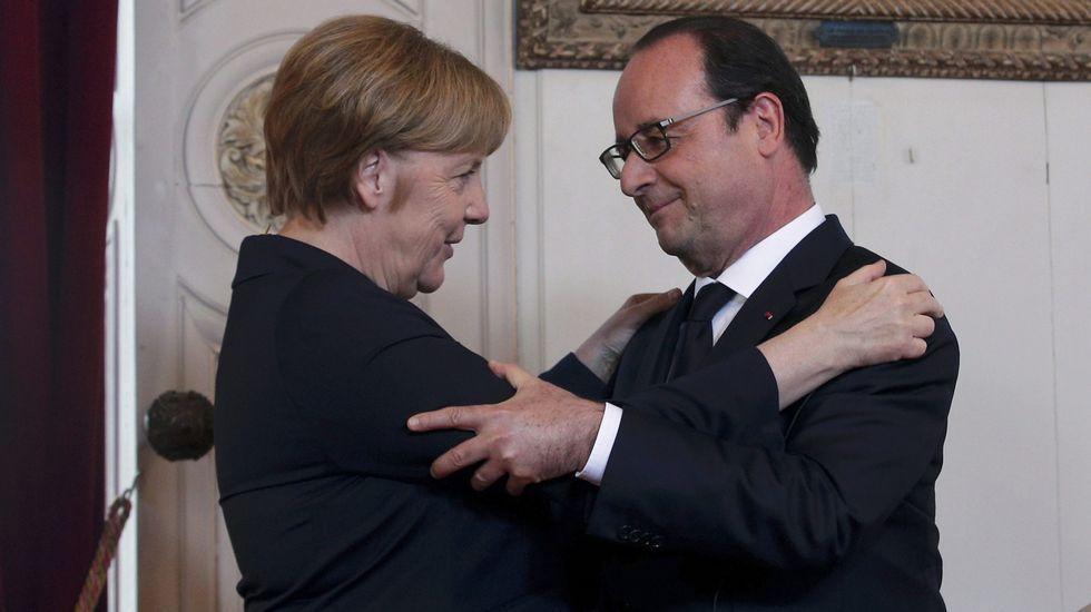 Cien años de la batalla de Somme, en imágenes.Hollande, Merkel y Renzi.