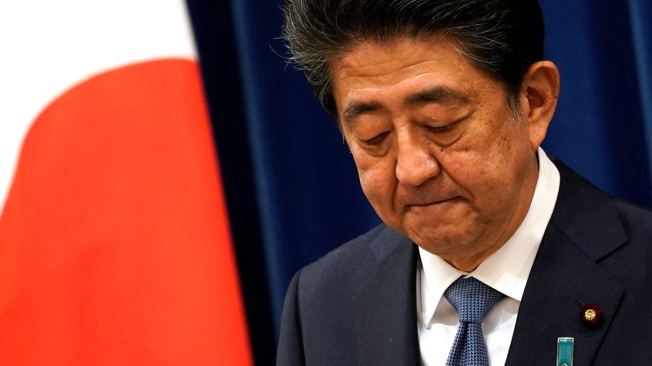 Naufragio delGulf Livestock1.Shinzo Abe en la rueda de prensa en la que anunció su renuncia como primer ministro