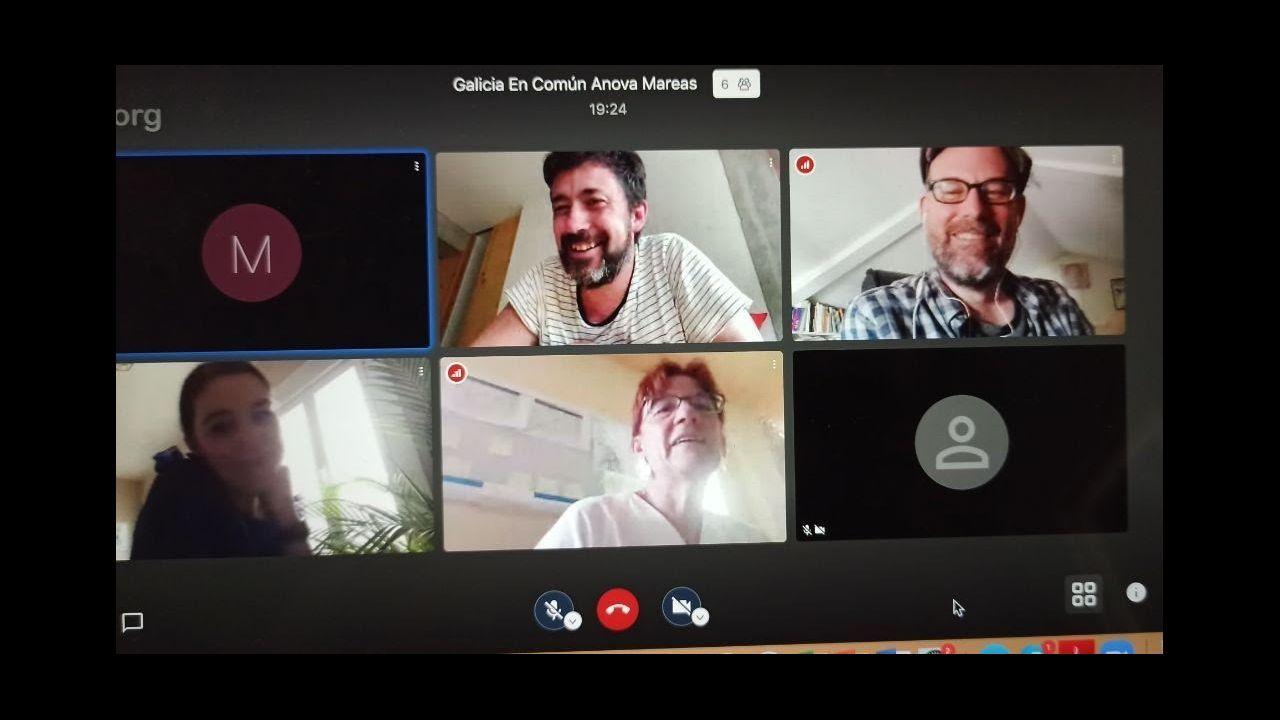 Un momento del encuentro virtual de miembros de Galicia en Común con la Asociación en Defensa da Sanidade Pública