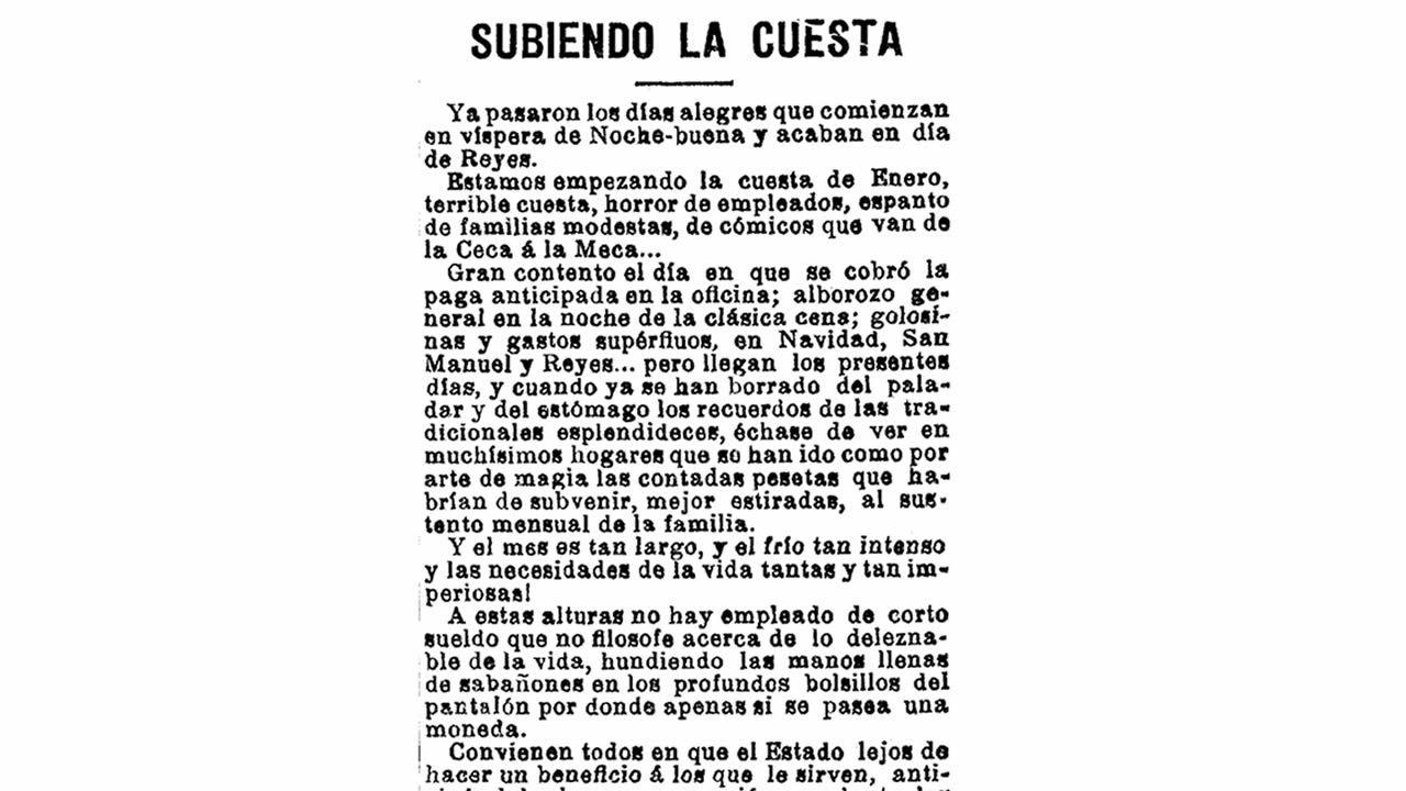 Noticia publicada en La Voz de Galicia el 8 de enero de 1904