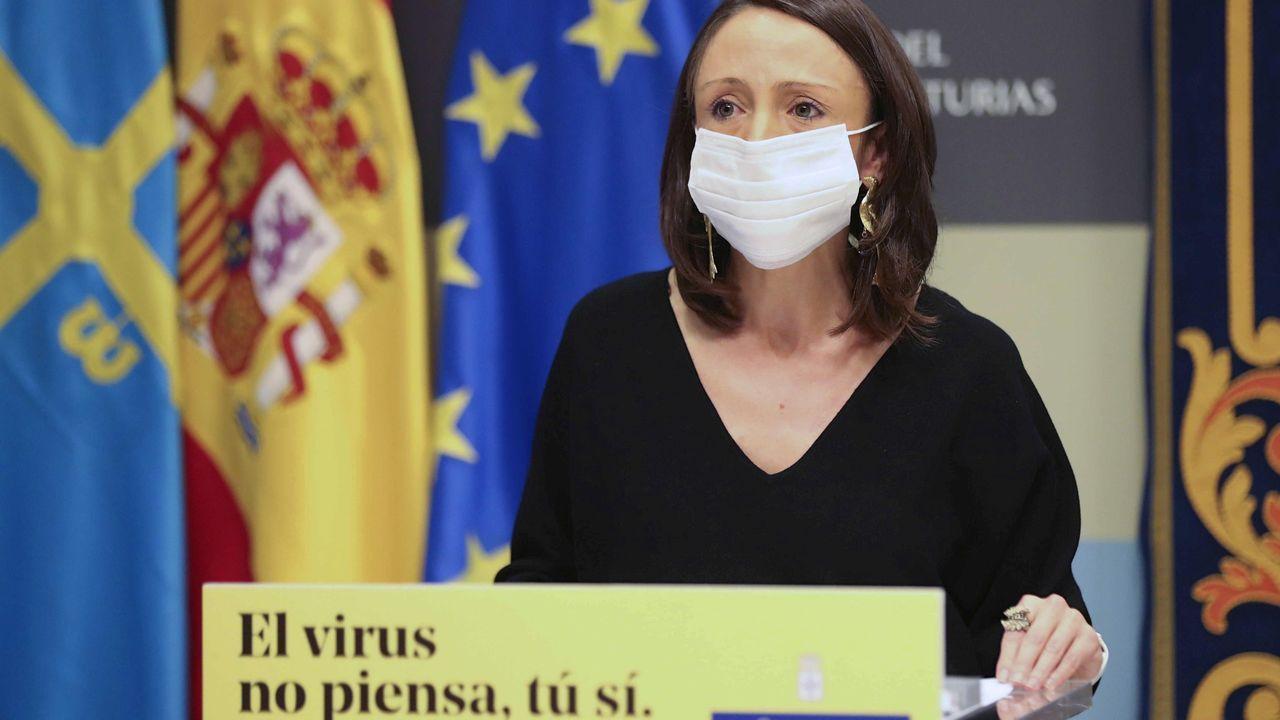 Concentraciones contra la vilencia machista en Asturias.Melania Álvarez, portavoz del Principado de Asturias