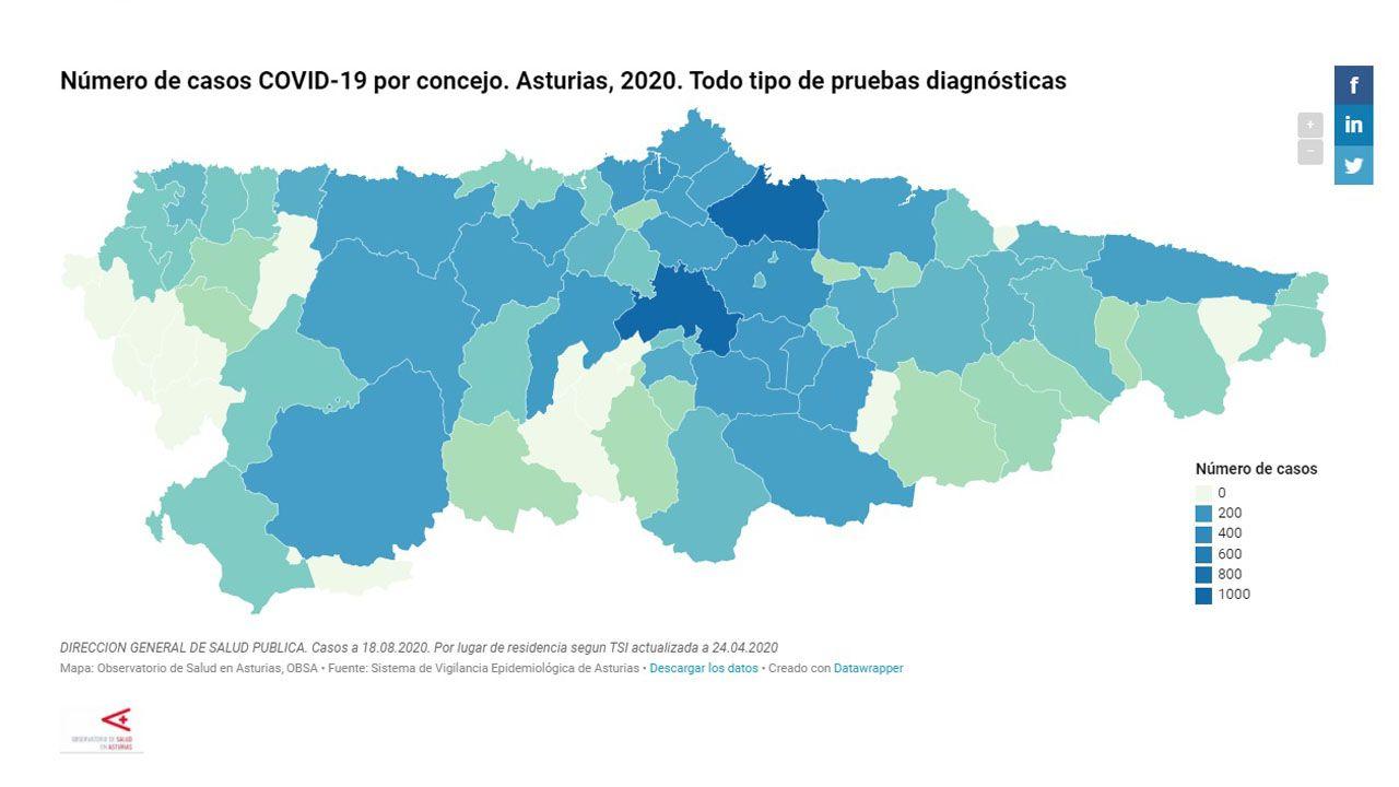 Número de casos de coronavirus por concejo, a fecha 18 de agosto