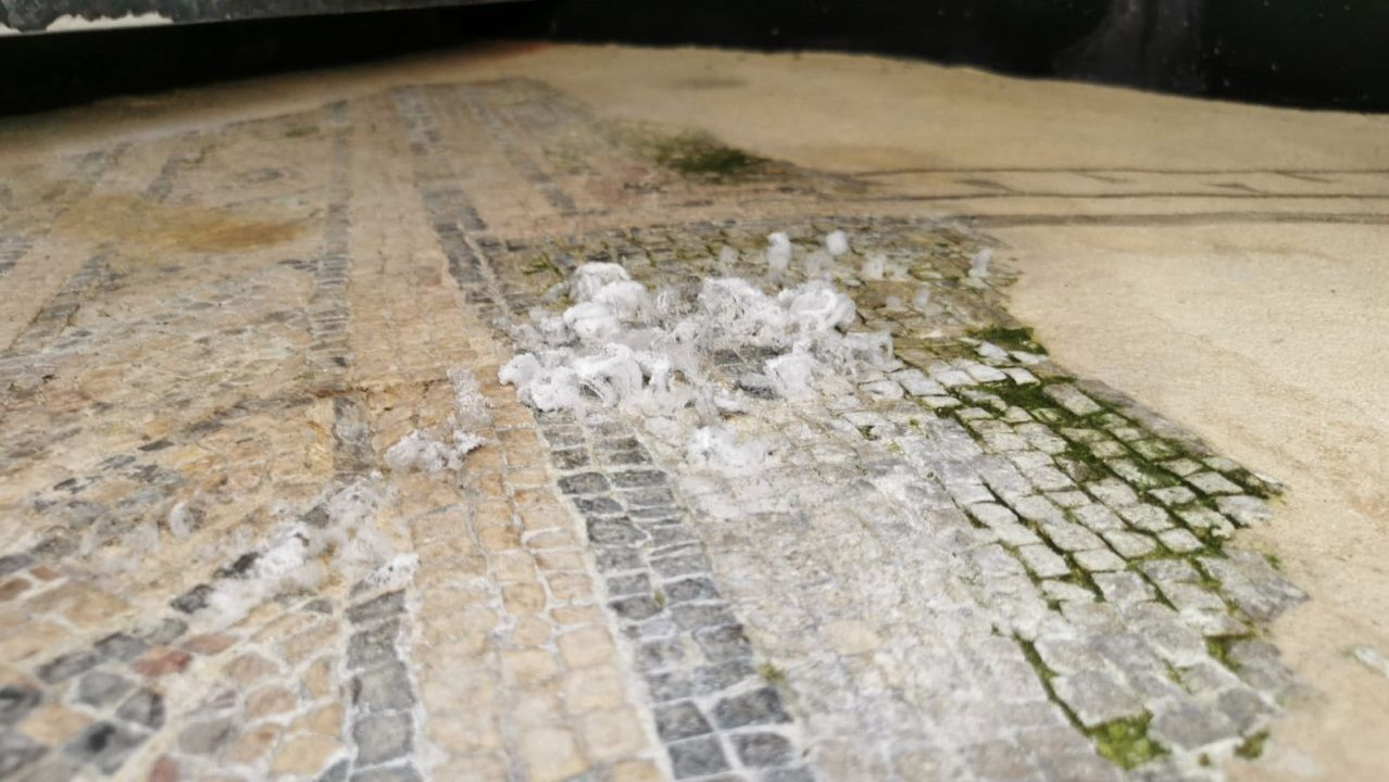 Lucus In Vino Veritas se consolida como polo de atracción turística.Restos de sales que se forman en los mosaicos de Doutor Castro en Lugo