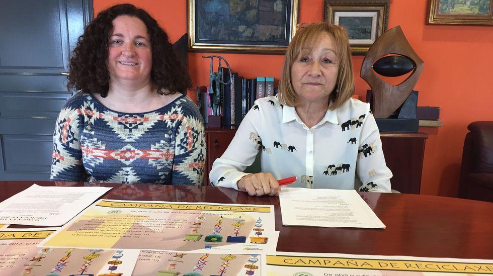 Diana Urdangaray, edila de Medio Ambiente, y Alicia Álvarez, concejala de Servizos, presentaron las campañas de reciclaje