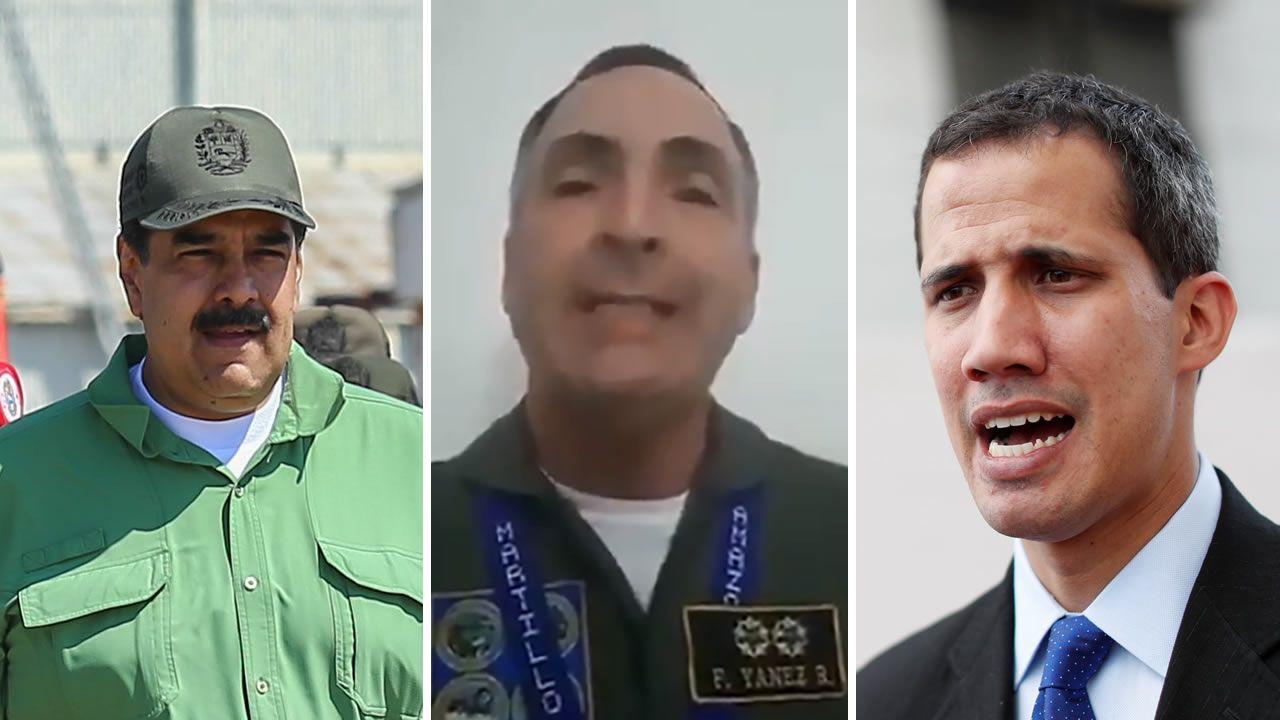 Venezuela se echa a la calle para reclamar elecciones libres.Nicolás Maduro, el general Yáñez y Juan Guaidó