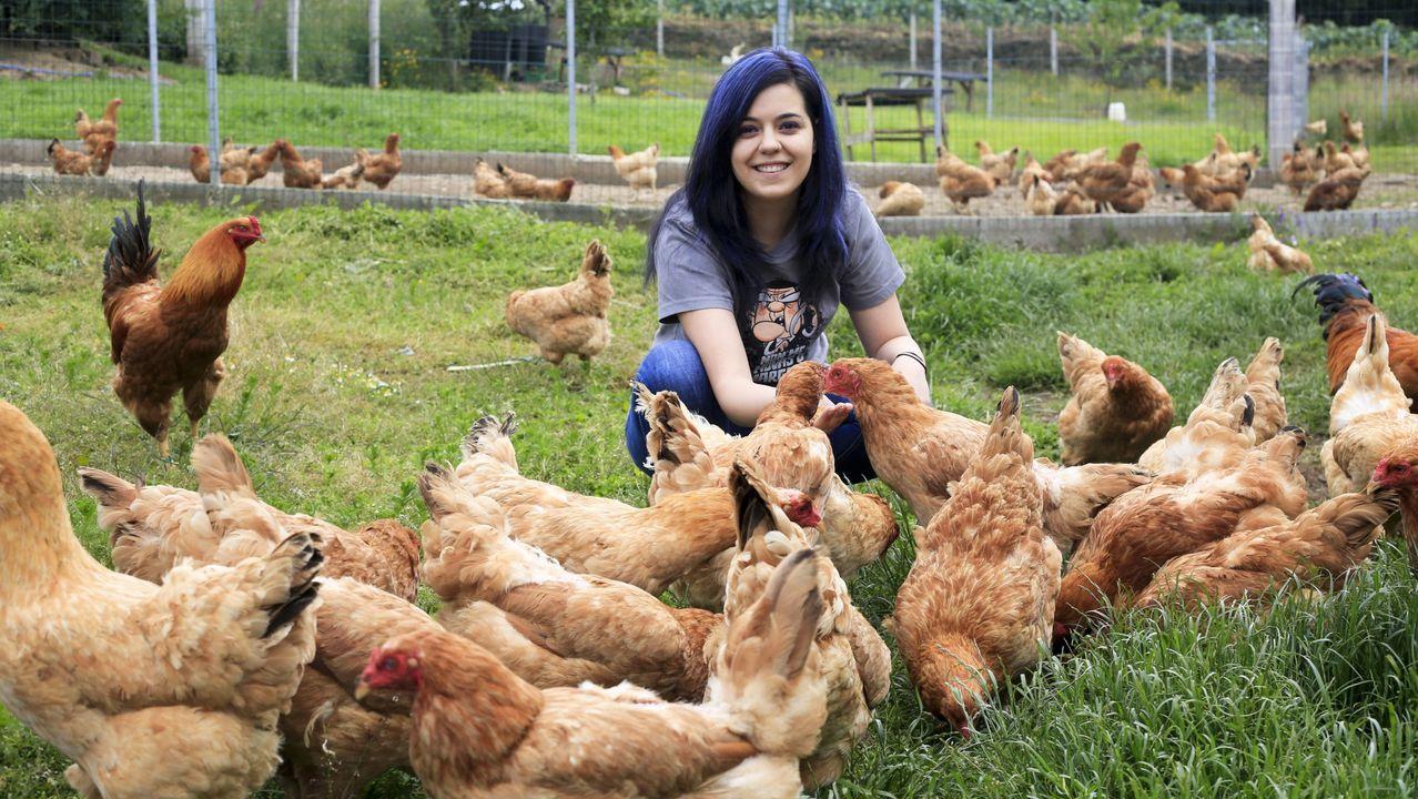 Sandra López, en su explotación avícola