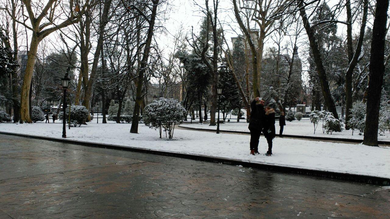 Nieve en Oviedo.Parque San Francisco