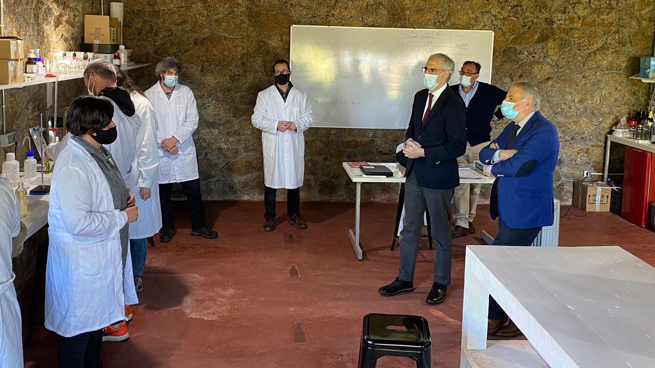 Un momento de la visita del conselleiro Francisco Conde a la escuela de hostelería y vitivinicultura de Rosende