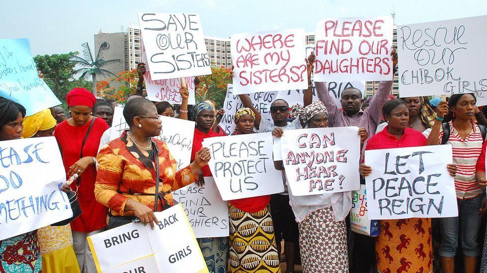 Una de las manifestaciones para pedir la vuelta de las niñas secuestradas.