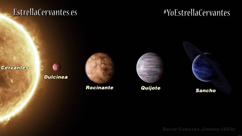 La estrella Cervantes y sus cuatro planetas.El espectáculo de calle fue seguido por numeroso público