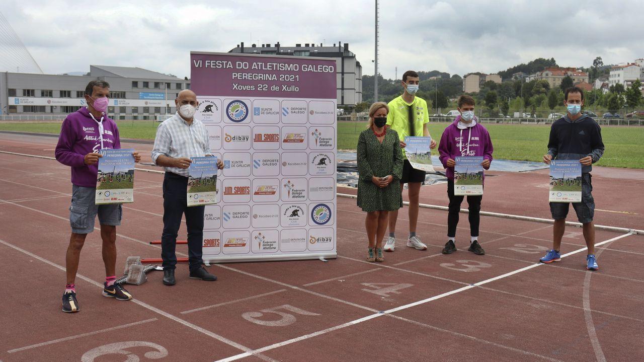 Presentación de la sexta Festa do Atletismo Galego, este martes, en la pista del CGTD de Pontevedra
