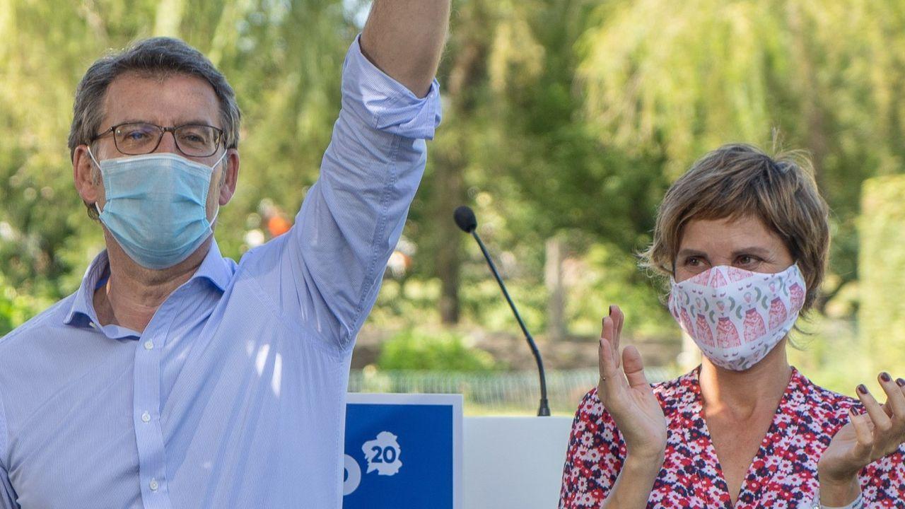 Todos los Gobiernos de Feijoo.Nava Castro, en un mitin con Feijoo en Ponteareas, en junio del 2020