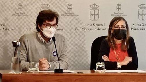 La portavoz parlamentaria de Izquierda Unida, Ángela Vallina, junto con el portavoz de Estudiantes progresistas, Daniel Sierra