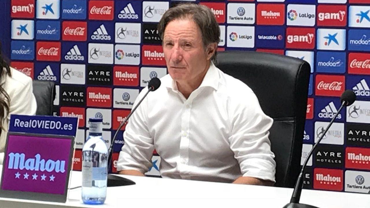 Gol Ibra Saul Berjon Real Oviedo Mallorca Carlos Tartiere.Juan Antonio Anquela en la rueda de prensa posterior al partido contra el Extremadura UD