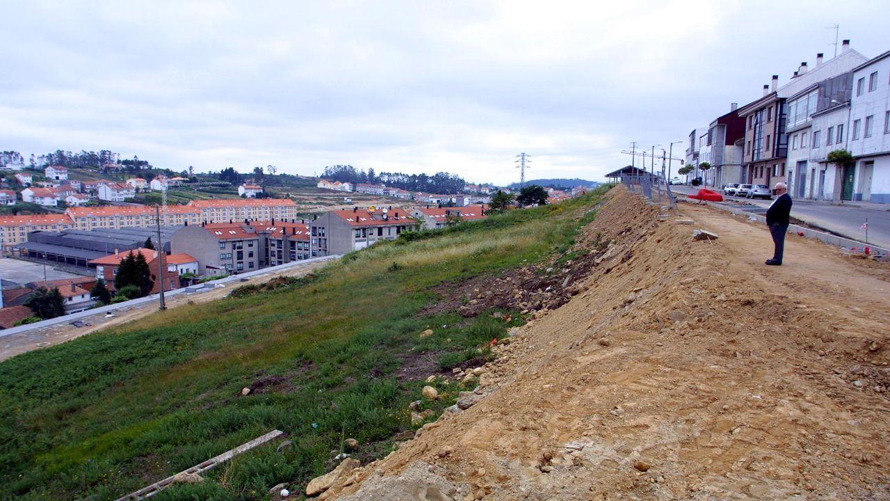 Obras del viaducto sobre el valle del río Pambre de la autovía A-54 entre Lugo y Santiago