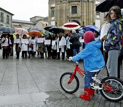 La movilización fue en la praza da Peregrina.