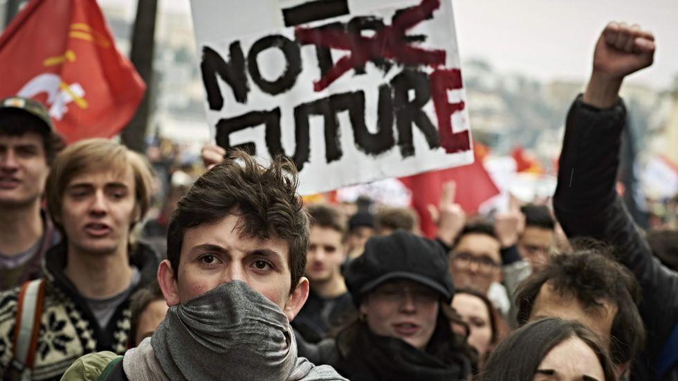 La reunión a tres, en imágenes.Manifestación del último Primero de Mayo.