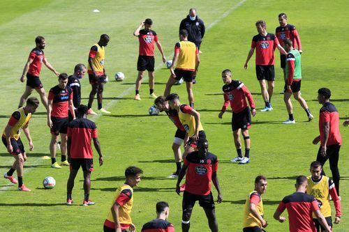 Los jugadores del Lugo durante un entrenamiento