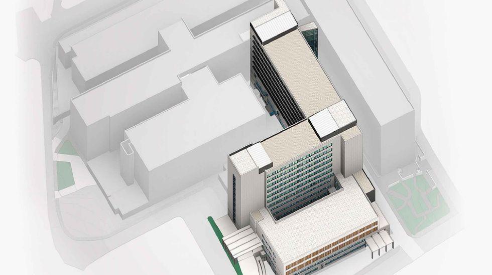 Imagen de cómo quedará el nuevo edificio y de la reforma del Materno en el conjunto del CHUO.