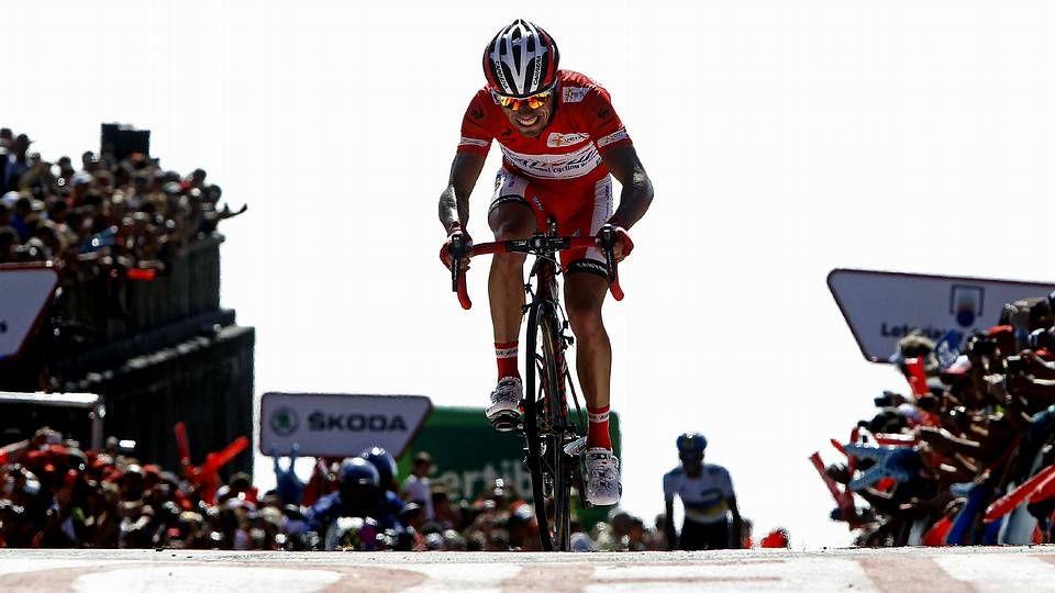Nivali, Contador, Hesjedal y Cavendish, en la presentación. <span lang= es-es >afp</span>