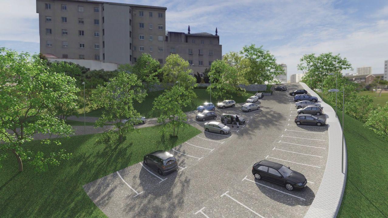 Recreación de cómo quedará el aparcamiento ordenado en el vial lateral del hospital materno-infantil Teresa Herrera de A Coruña tras las obras