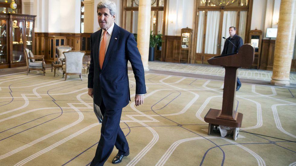 El secretario de Estado estadounidense John Kerry en Suiza, donde se celebran las negociaciones del programa nuclear iraní.