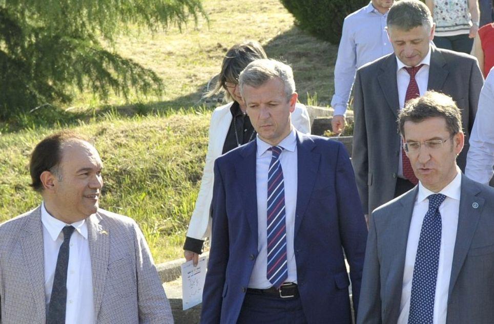 Crespo con Rueda, Cuiña y Feijoo en un acto reciente en la Semana Verde de Galicia en Silleda.
