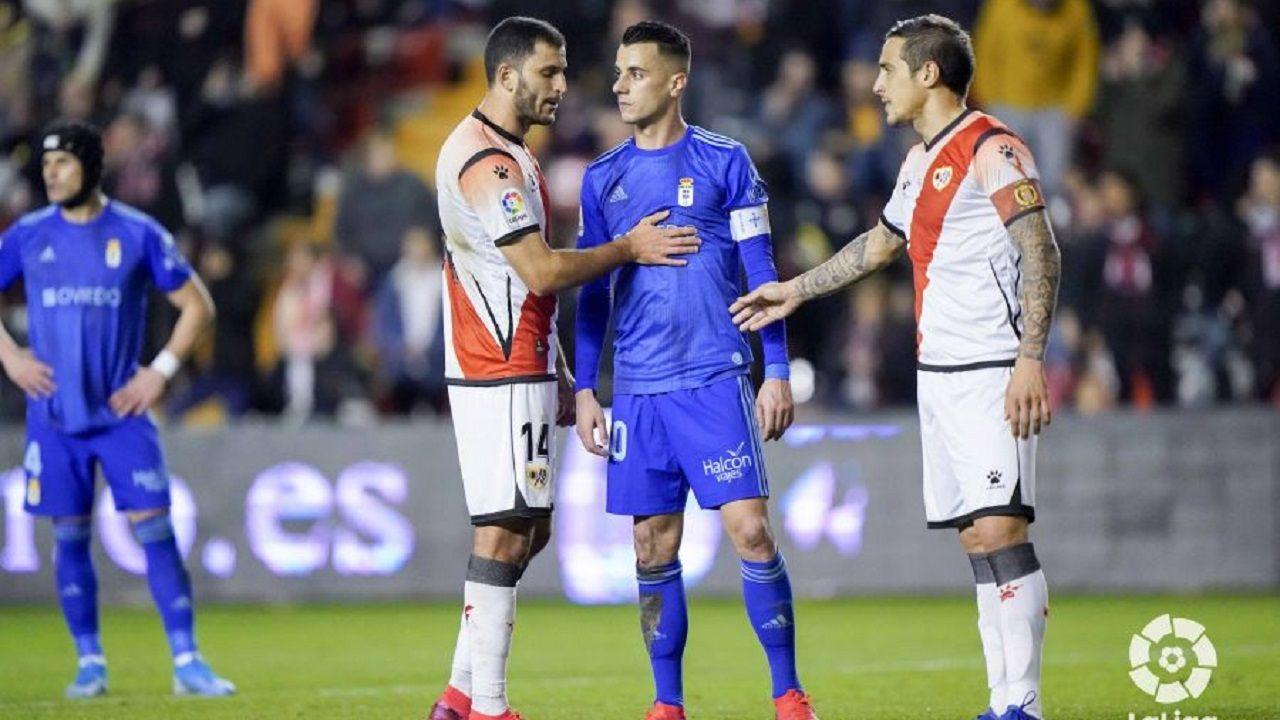 gol Luismi Ortuño Nolaskoain Real Oviedo Deportivo Carlos Tartiere.Yacine, Tejera y Trejo, durante el Rayo Vallecano-Real Oviedo