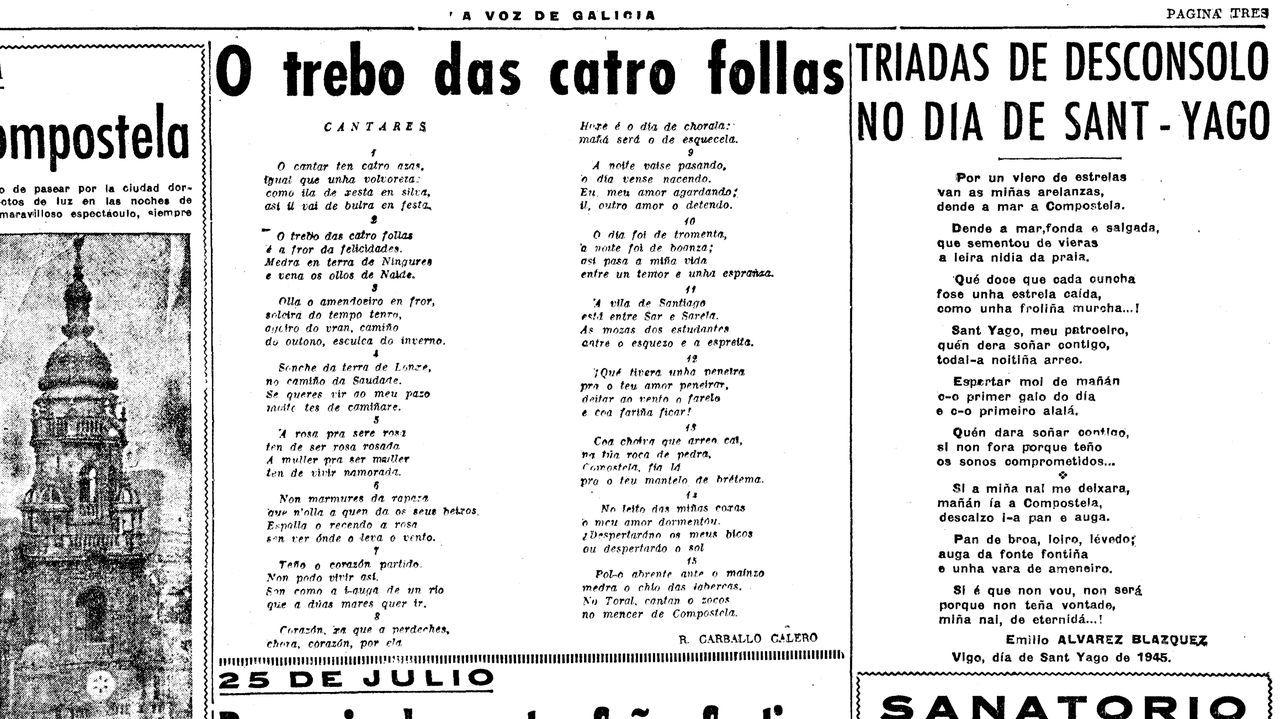 «O trebo das catro follas», tal e como se publicou o 25 de xullo de 1945