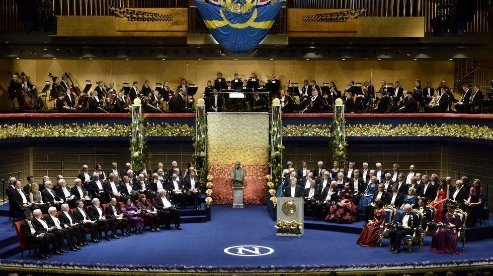 Vista general de la ceremonia de entrega de los Premios Nobel 2015 en Estocolmo, Suecia.