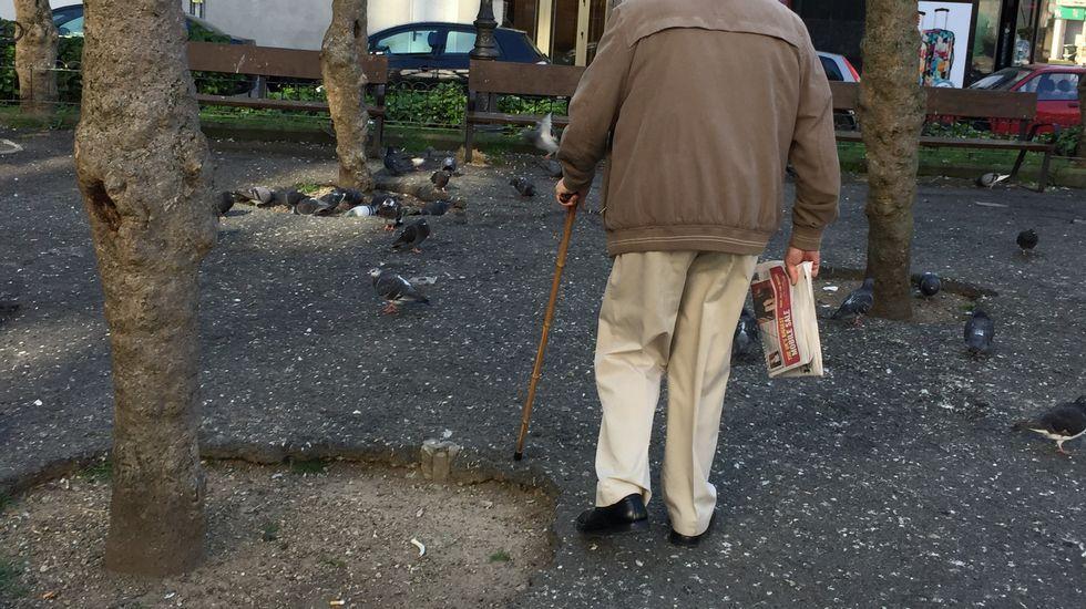 Un vecino sorteando obstáculos en la plaza José Rubinos