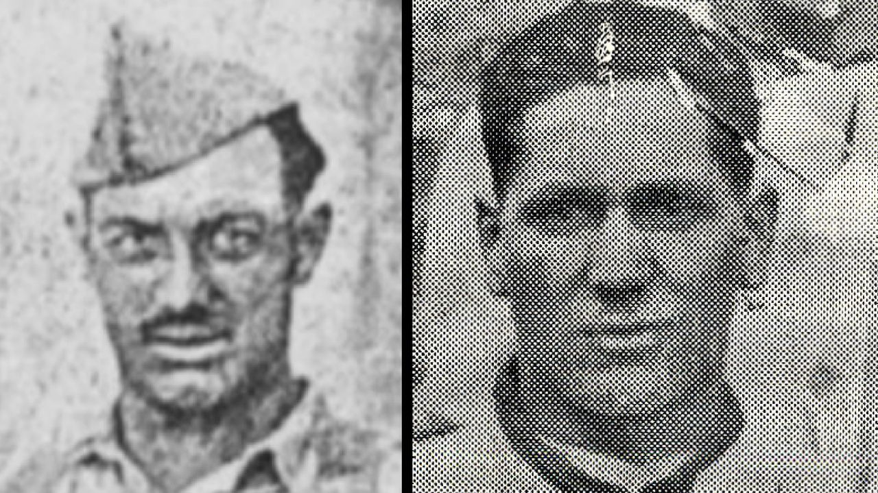 Retratos de dos de los guerrilleros muertos en Repil en abril de 1949. A la izquierda, Evaristo González Pérez. A la derecga, Gregorio Colmenero Fernández