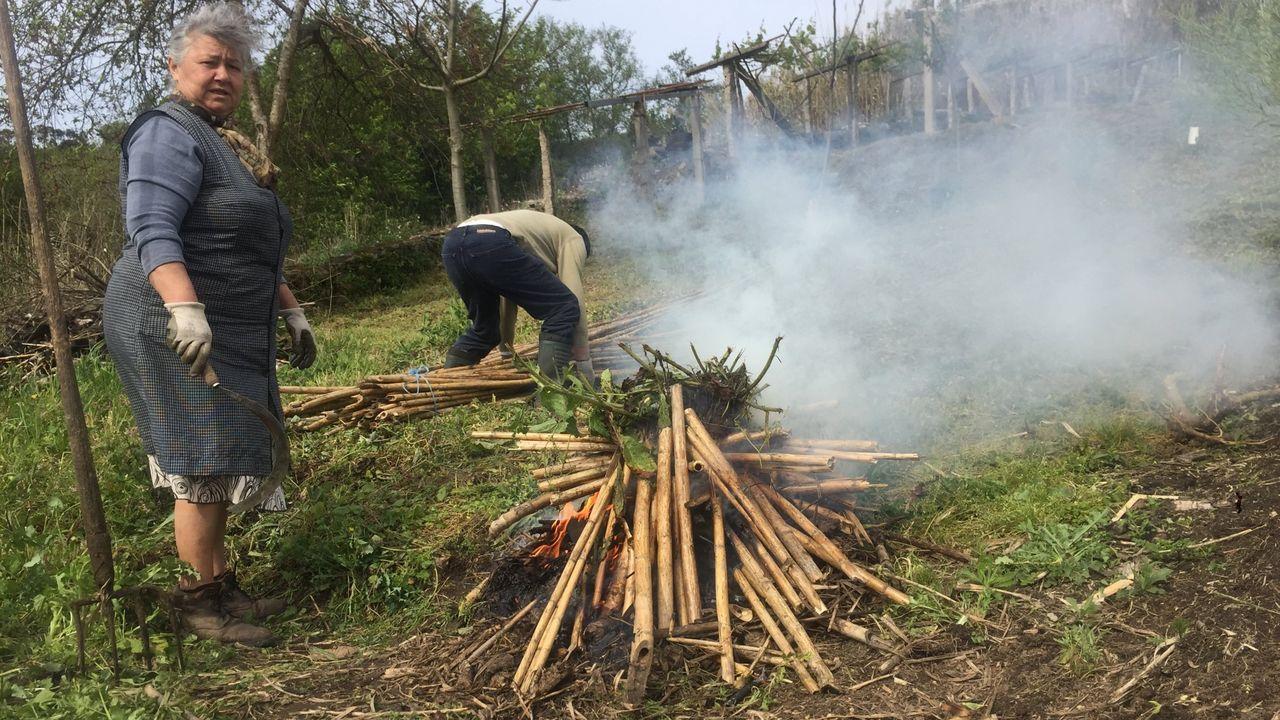 Vecinos de A Devesa realizando una quema controlada de restos