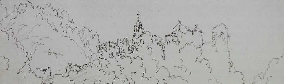 Explosión literaria en Dombate y el Anllóns.Fragmento del dibujo hecho desde el río Sesín por Villaamil en 1849, que también se incluye en el libro