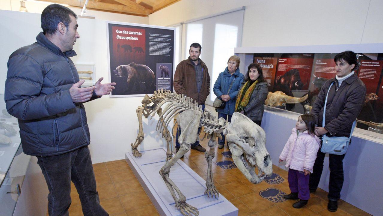 Visitantes en el museo de geología y paleontología de Quiroga