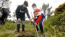 Alumnos de Fisterra reforestan con frondosas el monte local