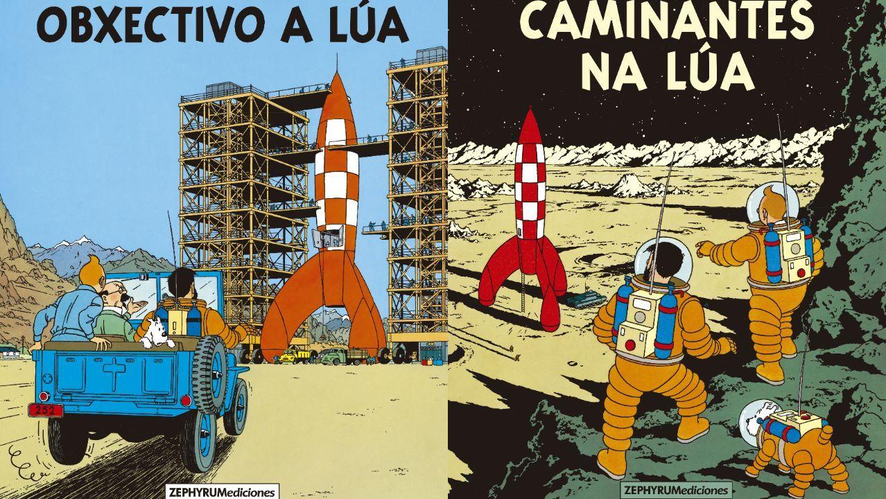 Detalle de las portadas de las versiones en gallego de los álbumes