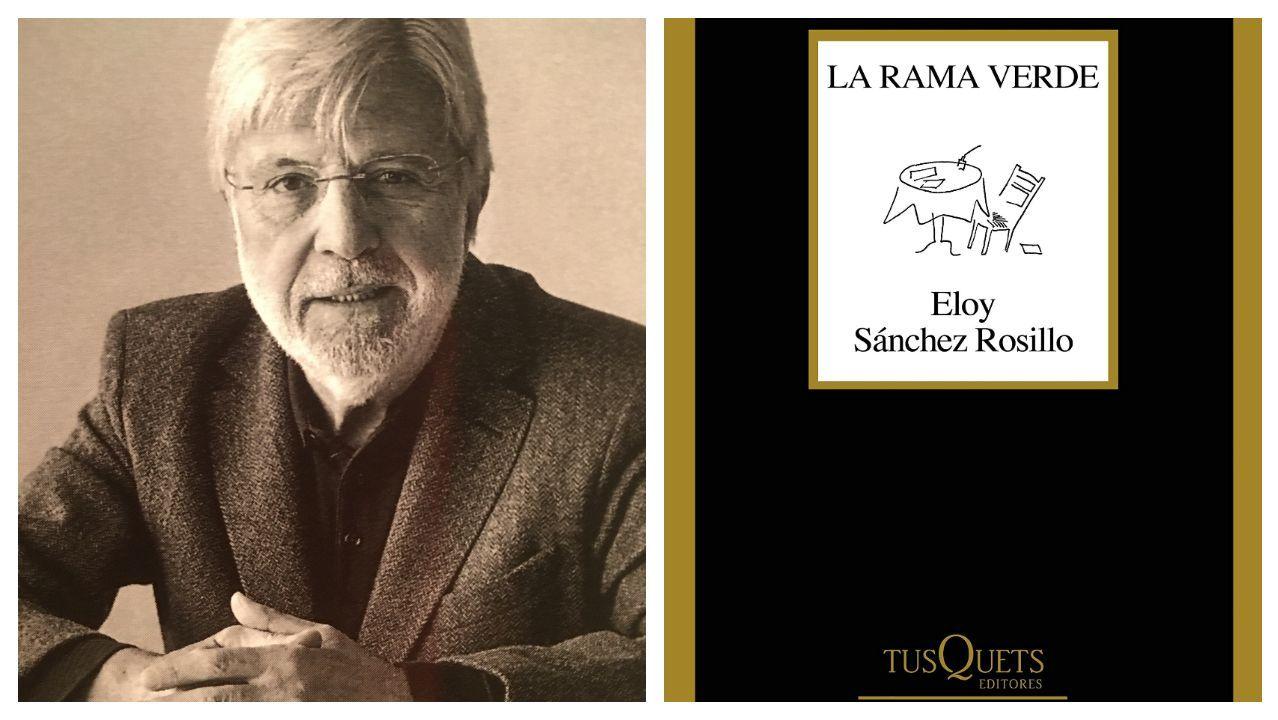 El poeta Eloy Sánchez Rosillo; a la derecha, portada de su último libro