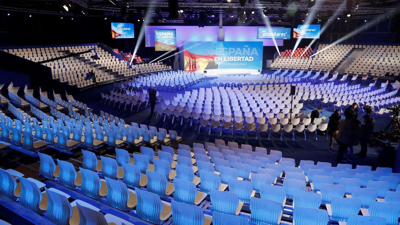 Todo está preparado en el recinto ferial de Ifema en Madrid para que esta tarde el PP inicie la convención nacional