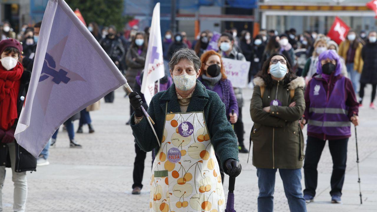 Manifestación del 8M en la plaza de María Pita de A Coruña
