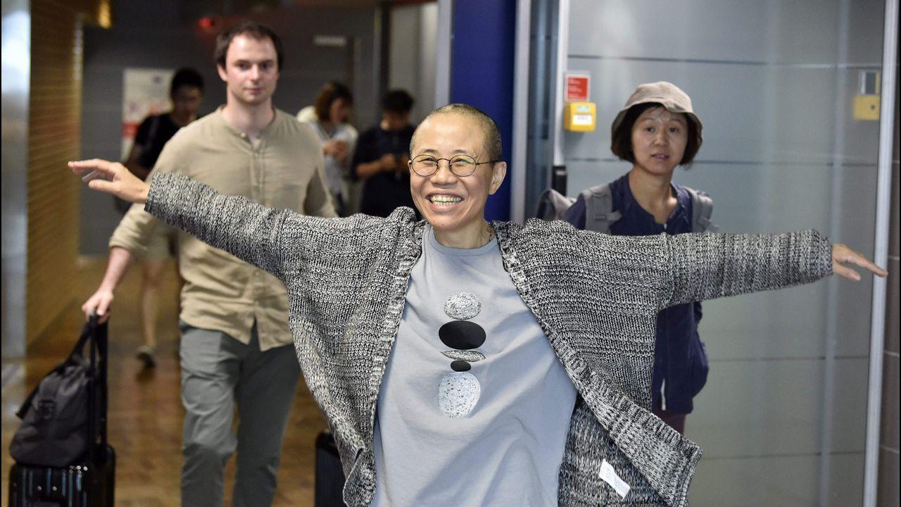 Liu Xia, a su llegada al aeropuerto finlandés de Vantaa, desde donde viajó a Berlín