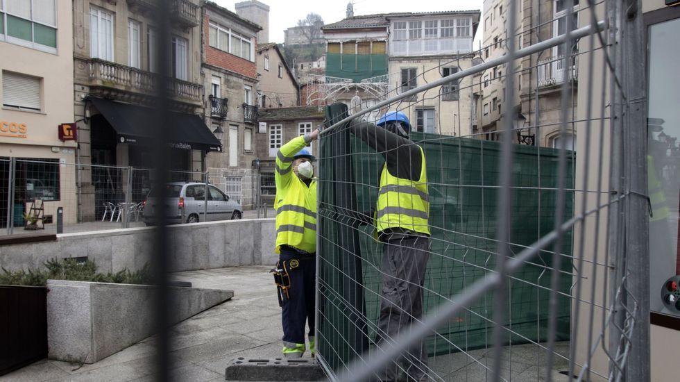 Preparativos para las obras ahora en curso en la plaza de Doctor Goyanes