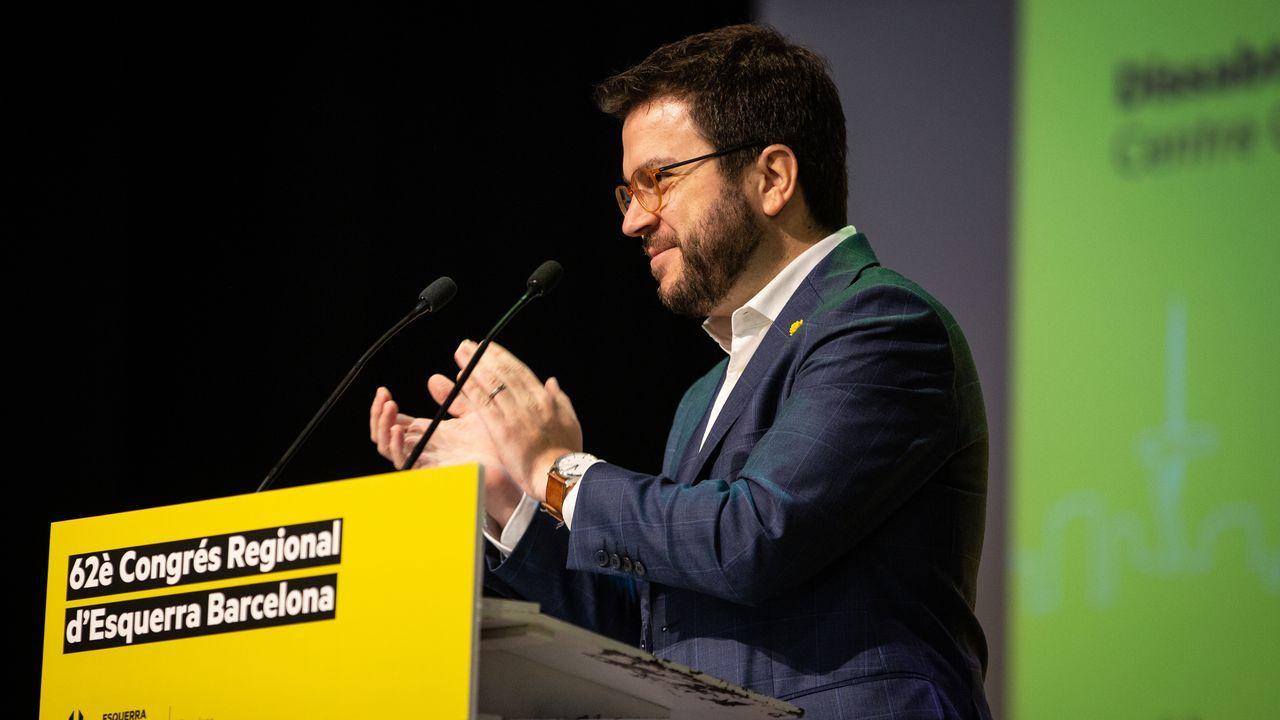 Pere Aragonès, ayer en el congreso de ERc en Barcelona