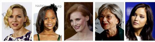 Naomi Watts, Quvenzhan Wallis, Jessica Chastain, Emmanuelle Riva y Jennifer Lawrence