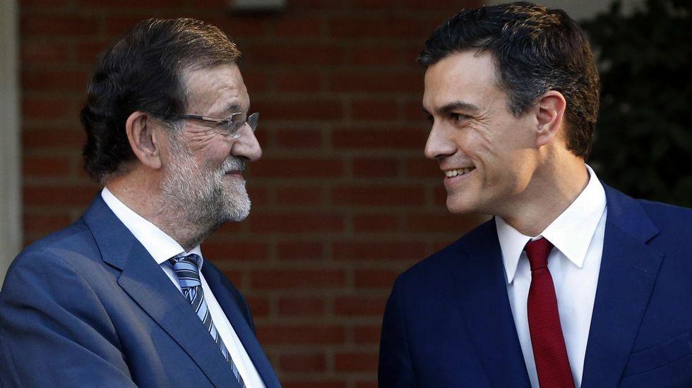 «Se abre una nueva etapa».Imagen de archivo de un encuentro en La Moncloa entre el secretario general del PSOE y el presidente del Gobierno