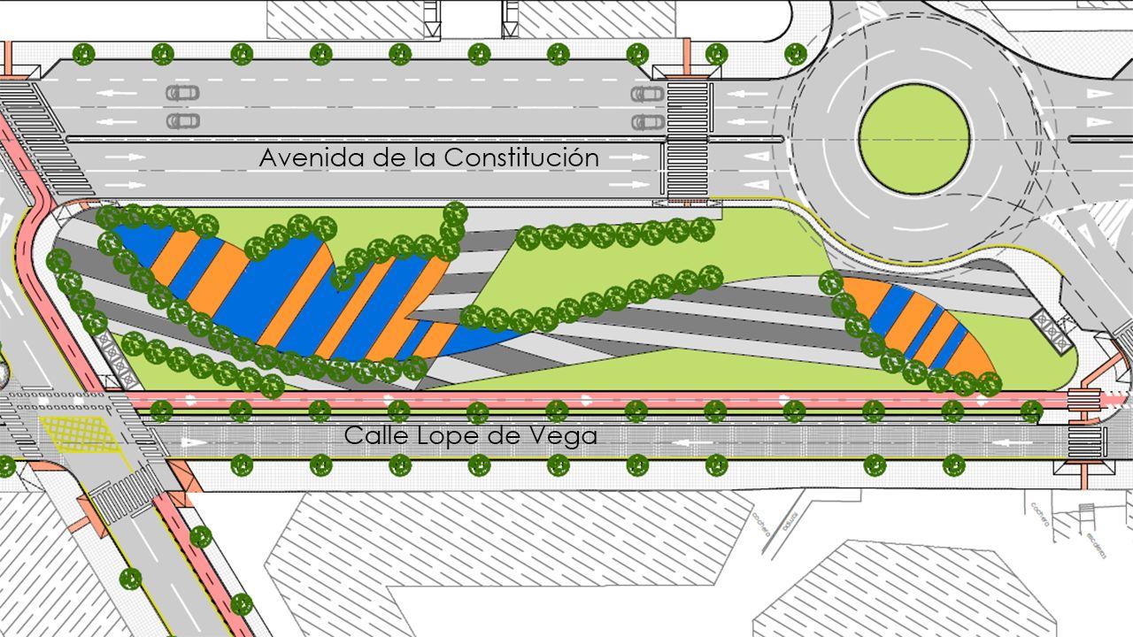 Promociones de SSG en Oleiros.Plano de la tercera fase del bulevar de Lugones, que prevé una franja arbolada de 120 metros de longitud entre Santa Isabel y Leopoldo Lugones