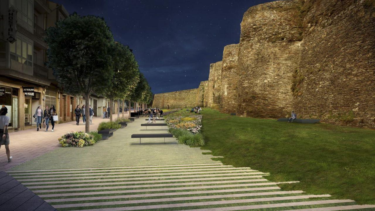 Reproducción de cómo quedará A Mosqueira cuando sea peatonal y el cambio de iluminación